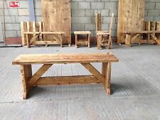 RUSTIC SOLID WOODEN BENCH SEAT RECLAIMED HANDMADE FARMHOUSE JACOBEAN ANY SIZE