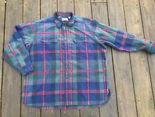 LL Bean Heavy Chamois Flannel Button Shirt Men's XL Blue Green Gray Red Plaid