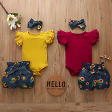 Newborn Baby Girl Floral Outfit 3PCS Set Romper Jumpsuit Shorts Headband Clothes