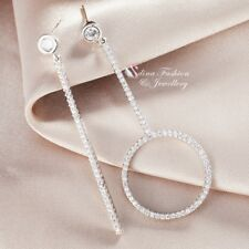 18K White Gold Filled Simulated Diamond Fashion Round Stick Asymmetric Earrings