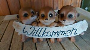 """Erdmännchen """"Willkommen - Schild"""" aus Kunststein ca. 25 cm breit NEU Garten"""