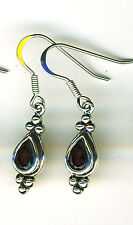 925 Sterling Silver Garnet Drop / Dangle Earrings Length (with hooks) 1.3/8""