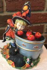 "LENOX  ""BOBBING FOR APPLES""  Vintage  Halloween Witch w/ apples & black cat"