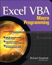 Excel VBA Macro Programming Shepherd, Richard Very Good Book