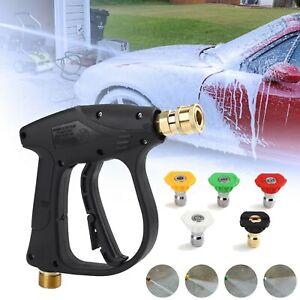 3000 PSI High Pressure Washer Gun Car Wash Foam Spray Short Wand + 5 Nozzle Tips
