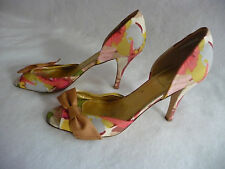J CREW Peeptoe Heels Size 11 Floral Bow Italy Fabric NWOT Closed Back New Unworn
