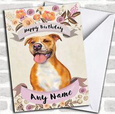 Rustic Gold Dog Pitbull Personalized Birthday Card