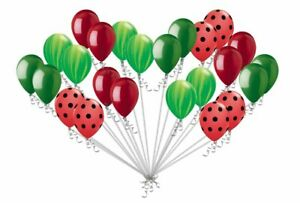 24 pc Red Watermelon Inspired Latex Balloons Green Agate & Red Polka Dot Summer