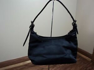 Coach #7428 Black twill and Leather Mini HOBO, ADORABLE MUST SEE GREAT CONDITION