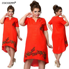 COCOEPPS Plus Big Size Loose Short Sleeve Large Size V-Neck Summer Dress