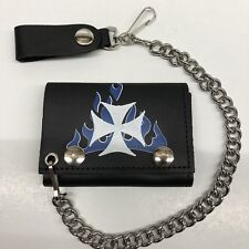 IRON CROSS BLUE FLAMES TRIFOLD LEATHER WALLET WITH CHAIN