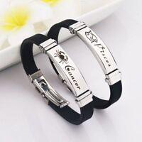 Fashion Stainless Steel Clasps Zodiac Sign Bracelet Men Women Zodiac Wristband