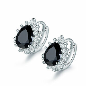 18K White Gold White Crystal and Black Pear Cut Stone Earrings 409
