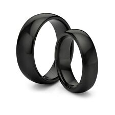 HIS & HERS 8MM/4MM Titanium Classic Black Comfort Fit Wedding Band TWO RING SET