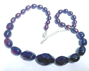 Cranberry Faceted Lucite & Satin Beads COLDWATER CREEK Necklace