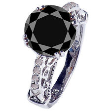 4.30.ct BLACK ROUND REAL MOISANITE & NATURAL RAW DIAMOND 925 SILVER RING SIZE 7