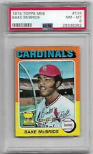 1975 Topps Mini #174 Bake McBride Cardinals graded PSA 8 NM-MT