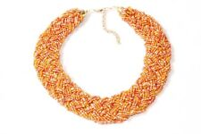 Braided Beaded Collar Necklace (S573) Lovely Girly Bright Orange Toned Wide