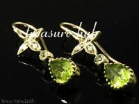 E152 Victorian style GENUINE 9ct Gold Natural Peridot & Pearl Drop Earrings