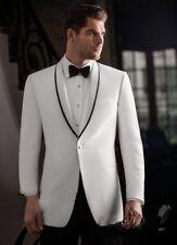 A Custom White Jacket Black Satin Trim Groom Tuxedos Groomsmen Man Wedding suits