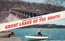 Vintage Postcard Fishing Greetings From The Great Lakes Of The South-Man Fishing