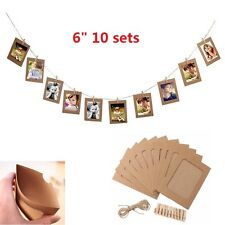 "10 Set 6"" Paper Photo DIY Wall Picture Hanging Frame Album Rope Clip Natural"