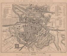 Guerre franco-prussienne. plan de metz et ses fortifications. moselle 1875 old map