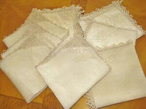 "9 Antique Italian Ecru Linen 17"" heirloom Napkins Needle Lace Trim Embroidery"