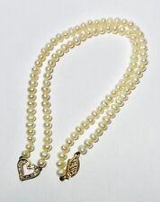 "10K Yellow Gold Love Heart Diamond Pendant Freshwater Pearl 17"" Necklace 13.5g"
