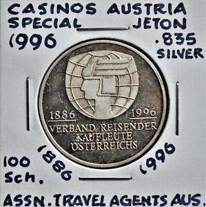 1996 Casinos Austria 100 Schilling Special Token - Travel Agents Ass.