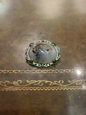 "W Filigree Border Beautifully Designed Vintage Sterling ""Moss Agate"" Pin"