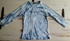 Bebe Women's Rhinestone Embellished Blue Tie Dye Cotton 3/4 Sleeve Top Sz L