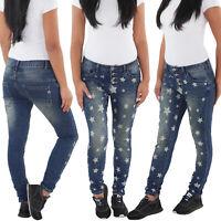 Damen Jeans Röhre Röhrenjeans Blaue Skinny Hüft Stretch Slim Fit Hose Sterne