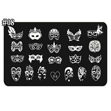 1PC Masquerade Mask Design Nail Art Tips Stamp Plates Manicure Template 12*6cm