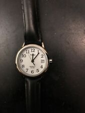 Timex Indiglo WR 30M Ladies Watch Black Leather Band Date 2nd Hand Vintage Retro