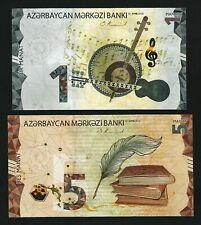 Azerbaijan 2 Pcs SET, 1 - 5 Manat 2020 - 2021, UNC, P-NEW DESIGN