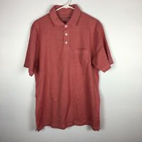 Cypress Club Mens Size Medium Red Short Sleeve Polo Shirt Chest Pocket. F