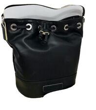 Vera Bradley BUCKET CROSSBODY Drawstring/Strap Black Faux Leather Tote Bag-NWT