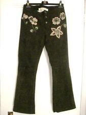MARNI Dark Brown Suede Jeans w Flower Applique IT42 (UK10) Silk Lining Cost ££££