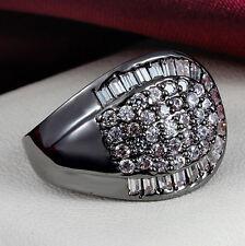 New White  Sapphire Birthstone Black Gold Filled Wedding Bridal Ring Gift Size 5