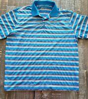 Nike Golf Dri-Fit Men's Blue White Striped Golf Polo Shirt Sz XL Standard Fit