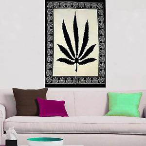White & Black Wall Hanging Marijuana Leaf Hippy Indian Gypsy Tapestry Poster Art