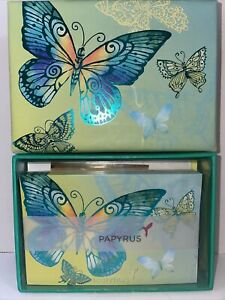 NEW Papyrus Metallic Blue Butterfly Boxed 16 Count Note Cards & Lined Envelopes