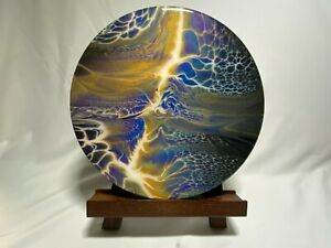 "12"" ACRYLIC PAINT POURED ABSTRACT ART ROUND (ORIGINAL, ONE OF A KIND, WOW!!!)"