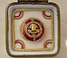 RARE 19TH C. RUSSIAN EMPERIAL  18K GOLD & DIAMOND GUILLOCHE ENAMEL  BUTTON