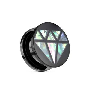 Screw Fit Plug from Acrylic Plastic Black With Abalone Inlay