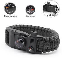 15 in 1 Survival Flint Fire Starter Whistle Gear Buckle Camping Rescue Bracelet