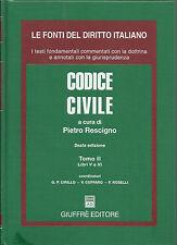 LE FONTI DEL DIRITTO ITALIANO_PIETRO RESCIGNO : CODICE CIVILE / TOMO II_GIUFFRE'