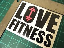 """ LOVE FITNESS ""  Dumbbell Motivation Gym wall window decal sticker cut vinyl"