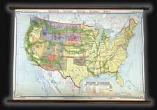 1940 Denoyer-Geppert Wall Map of Statehood in the Western U.S.